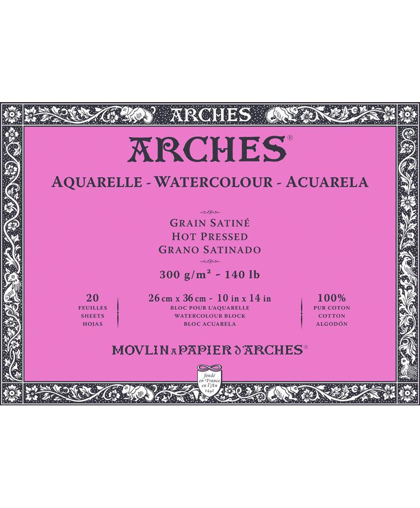 C&R: Block acuarela 26x36cm 300gr Arches Hot pressed