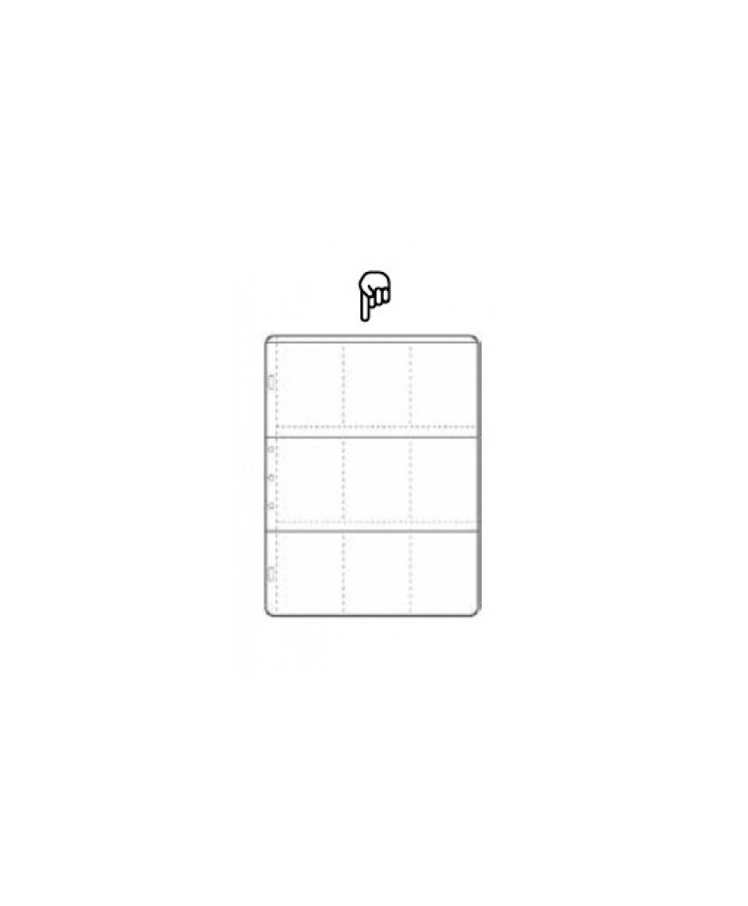 Hoja para álbum polipropileno de 9 secciones de 63x89 mm