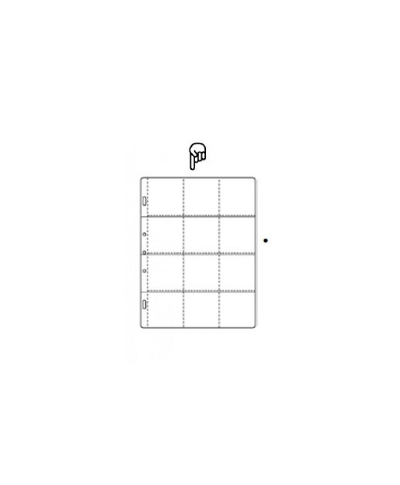 Hoja para álbum de polipropileno de 12 secciones de 70x70mm