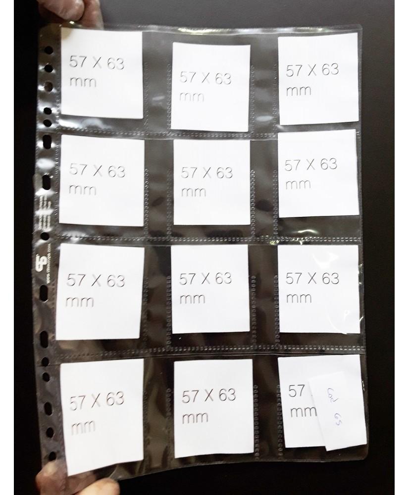 Hoja para álbum de polipropileno de 12 secciones de 57x63mm