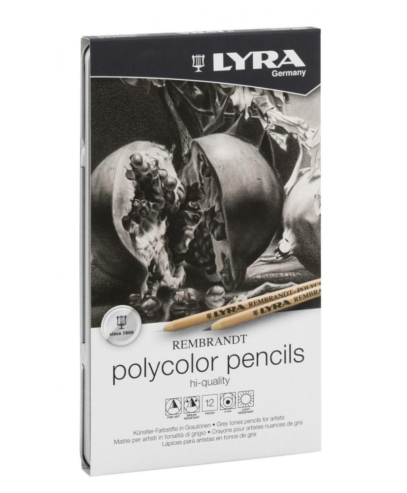 C&R: Set Polycolor gray pencils Lyra Rembrandt 12pcs